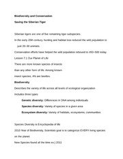 Saving the Siberian Tiger Notes