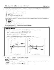 4.5 Logarithmic Functions and Derivatives