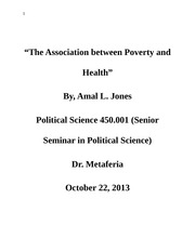 POSC 450 The Association between Poverty and Health