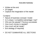 1d Business Plan contents