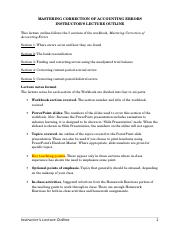 Mastering Correction of Accounting Errors Lecture Outline.doc
