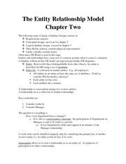 The Entity Relationship Model Chapter Two Lecture Note For APCO 2P32