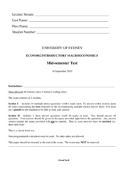 ECON1002 Mid Test Paper