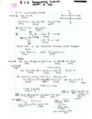 Chapter 1.2 Notes - Computing Limits