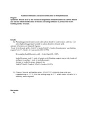 lab report on a fischer esterfication Lab report on a fischer esterfication abstract: the objective of this experiment is to efficiently perform a fischer esterification of 1-hexanol to form water and.