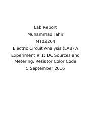 Experiment 1 - Lab Report