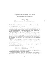 MATH 373 Fall 2014 Homework 14 Solutions