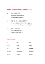 Newbie 12 Can You Speak Chinese