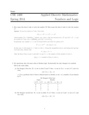 Quiz 1 Solution on Numbers Logic