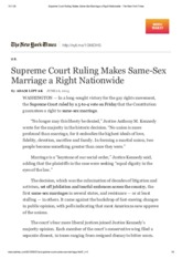 Supreme Court Ruling Makes Same-Sex Marriage a Right Nationwide