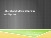 Ethical and Moral issues in intelligence