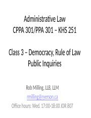 Class 3 - Public Inquiries, Accountability, Rule of Law, Democracy September 21, 2016(2).pptx