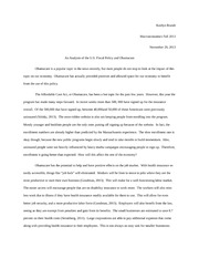 Essay on U.S. Fiscal Policy and Obamacare