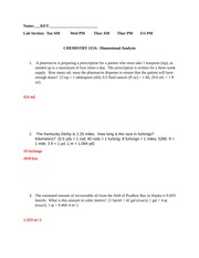 unit conversions worksheet in-class key