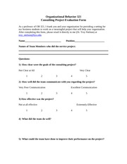 Consulting Project Client Evaluation Form