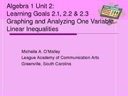 Algebra 1 Unit 2 Learning Goals 2.1, 2.2, and 2.3 PowerPoint 010111