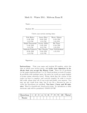 Midterm 5 Solutions