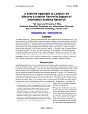 A Systems Approach to Conduct an Effective Literature Review