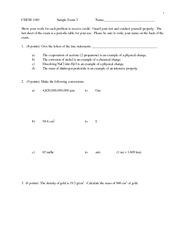Sampel Test 3 on General Chemistry 1