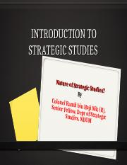 Lecture 1. Introduction to Strategic Studies