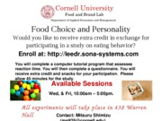 AEM food choice and personality recruitment spring 2011