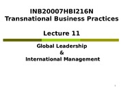 Lecture 11 Global Leadership & International Management