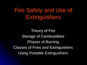 Fire Safety and Use of Extinguishers
