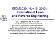 ISOM2030_L21_International_Laws_and_Reverse_Engineering