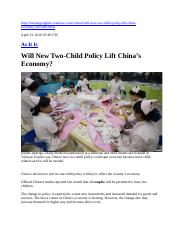 Will New Two-Child Policy Lift China's Economy.docx