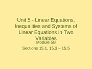 Linear Equations, Inequalities and Systems of Linear Equations in Two Variables