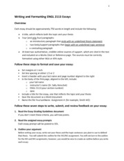 Writing and Formatting Your Essay w14