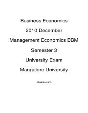 (www.entrance-exam.net)-Mangalore University Management-Economics BBM Sem 3- Business Economics Samp