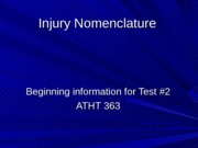 Injury Nomenclature
