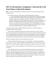 Documentary Assignment Cuba Cold War Chinese Cultural Revolution