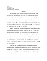 Midterm Writing Reflection Essay Example