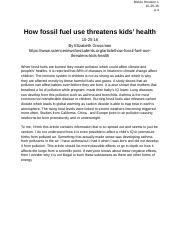 How fossil fuel use threatens kids' health