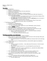 Income Tax - Exam 2 Study Guide