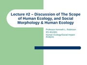 Lecture 2- The Scope of Human Ecology