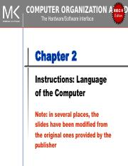 Chapter 2 Pdf Risc V D Computer Organization And Edition The Hardware Software Interface Chapter 2 Instructions Language Of The Computer Note In Course Hero