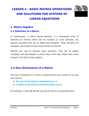LESSON 4 - BASIC MATRIX OPERATIONS AND SOLUTIONS FOR SYSTEMS OF LINEAR EQUATIONS