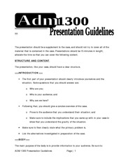 ADM 1300 Presentation Guidelines