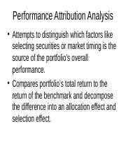 DLSU - MFE - Portfolio Management - Performance Attribution Analysis and Sector Selection and Stock