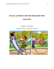 SOCIAL LEARNING AND THE BEHAVIOR THAT FOLLOWS