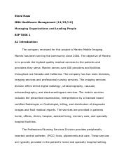 Managing Organizations and Leading People TASK 1 - HAAS