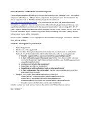 Dietary Supplement and Metabolism Fact Sheet Assignment.docx