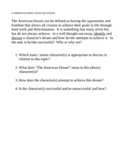 to kill a mockingbird study guide questions short answer  2 pages summer reading essay question week 2