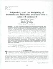 Ittner, C., M. Meyer, and D. Larcker, 2003b, Subjectivity and the weighting of performance measures.