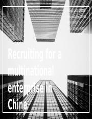 6- Recruting for a MNC in China-