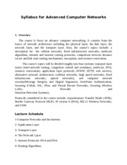 Syllabus for Advanced Computer Networks