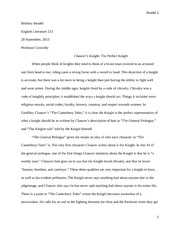 Chaucer Paper- The Knight